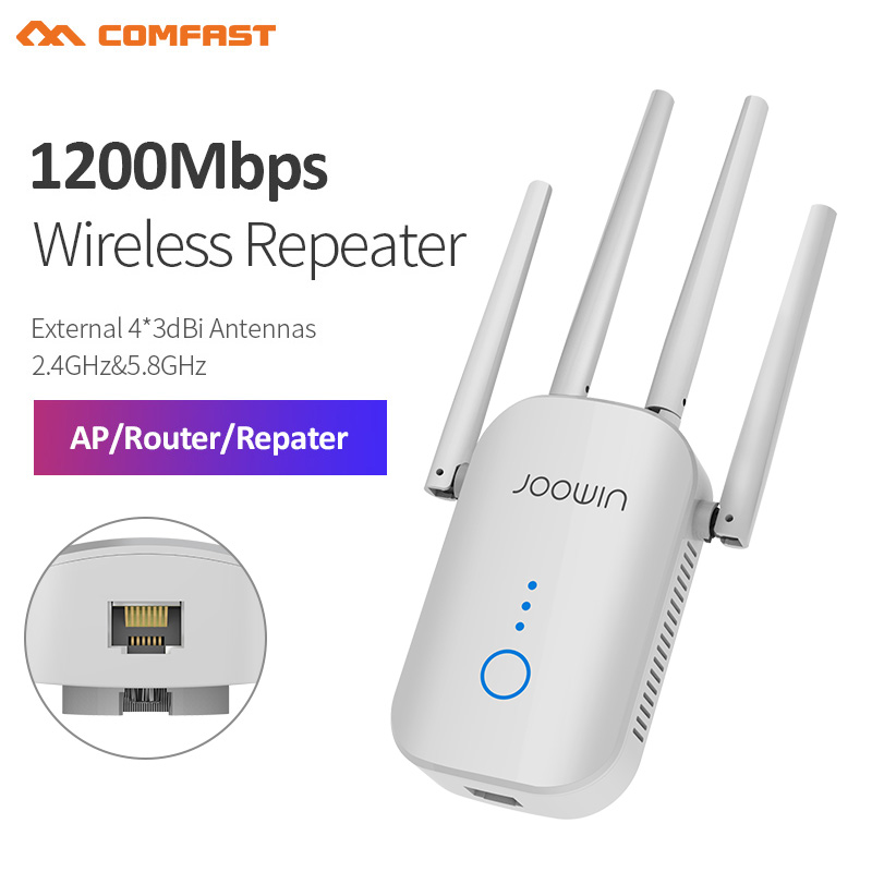 1200Mbps Dual Band 5Ghz Wireless Wifi Repeater Powerful Wifi Router Wifi Extender 4*3dbi Antenna Long Range Wlan WiFi Amplifier