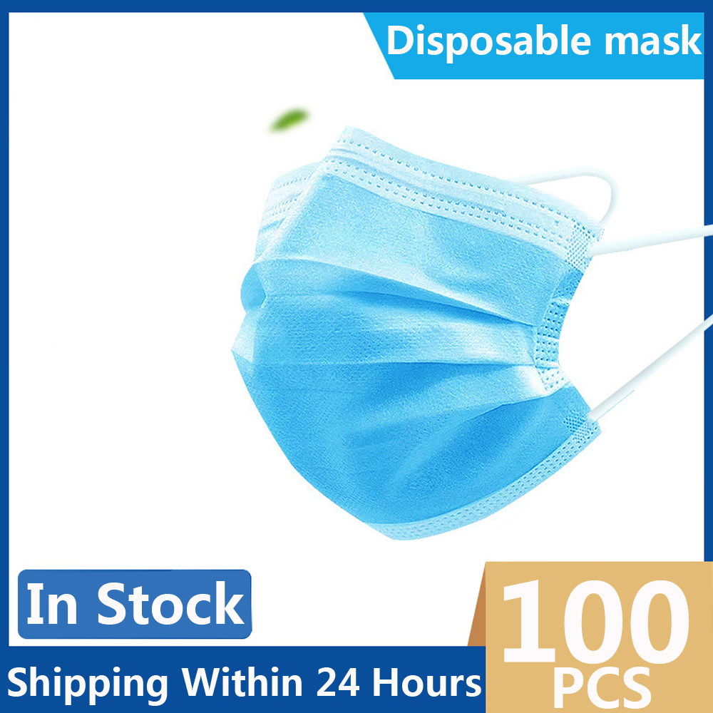 100PCS Face Masks Anti-Dust Disposable Masks Melt Blown Three-layer Mask Mouth Face Mask For women men