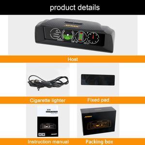 Image 5 - Autool x90 gps hud inclinômetro medidor de inclinação velocidade do carro auto 12v geral head up display com inclinação ângulo passo transferidor latitude