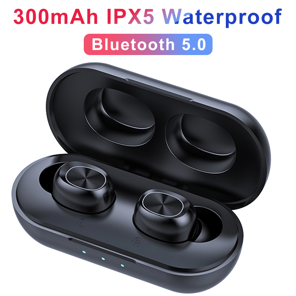 B5 TWS Bluetooth Wireless Earphone 5.0 Touch Control Earbuds Waterproof Stereo Music Headset 300mAh Power Bank HD Microphone2019