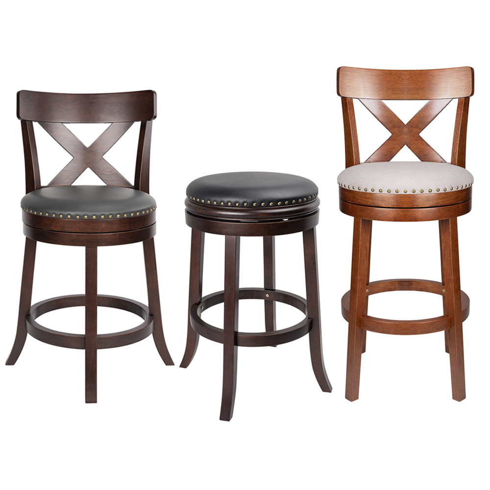 Farmhouse Wooden Bar Stools Counter Height Swivel Bar Chair Soft Upholstered Dining Room Chairs for Kitchen Bar Coffee Shop
