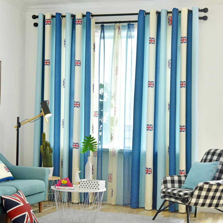 curtains finished blue article union jack small window bay window bedroom blackout drapes curtains living room simple modern