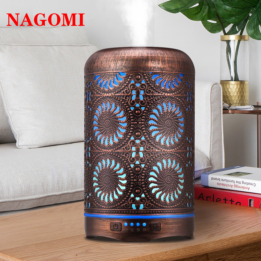 250ml Bronze Metal Air Humidifier Aromatherapy Essential Oil Diffuser Mist Maker 7 Color Light Change Lamp For Home Office