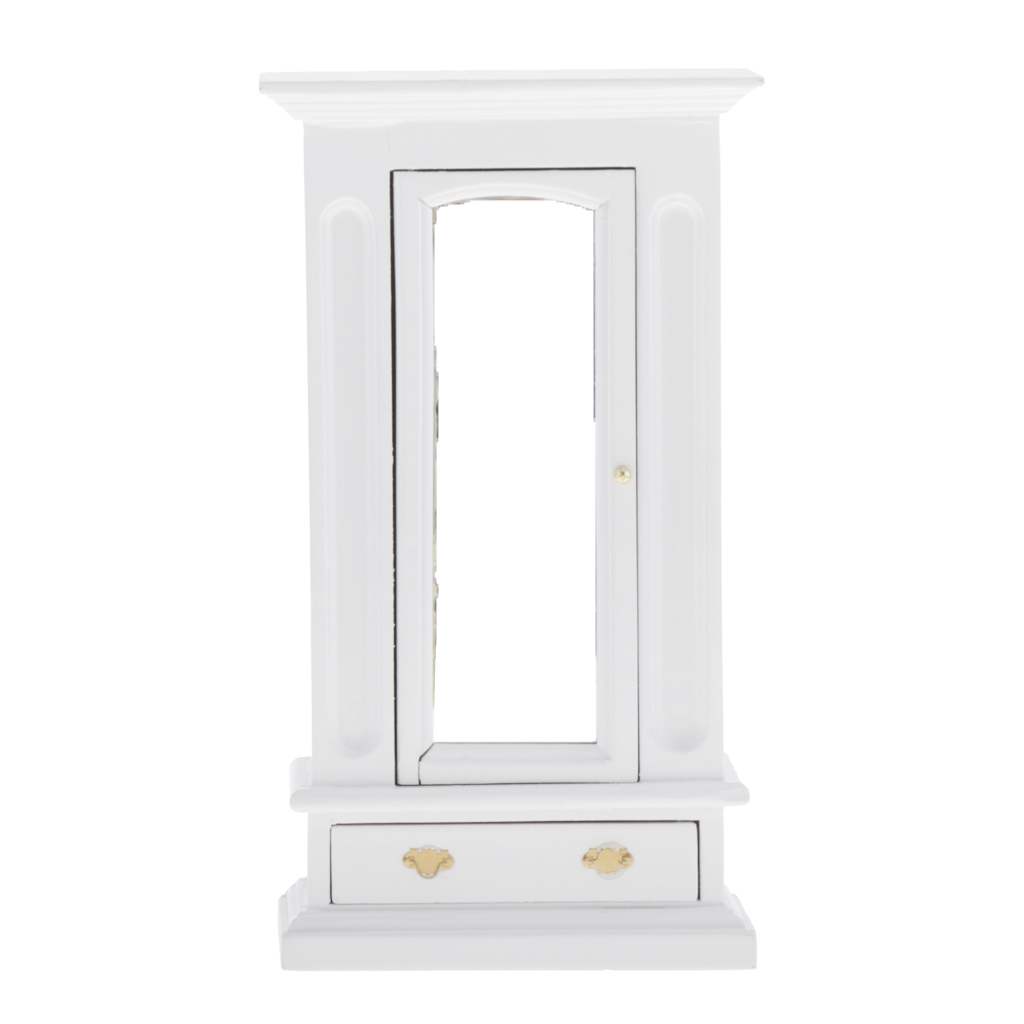 Miniature Dollhouse Cabinet Closet - Dolls House Mini Furniture Bedroom Wardrobe - 1/12 Scale (White)