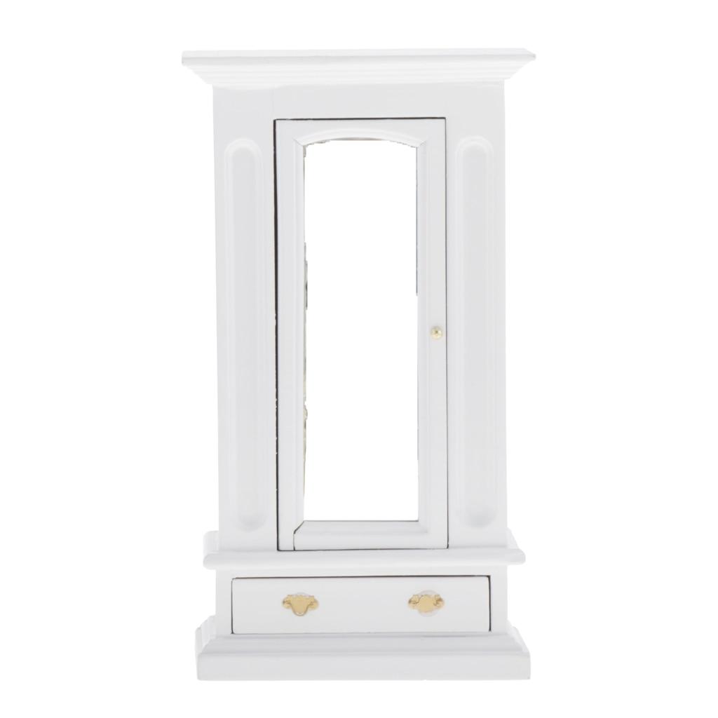 Miniature Dollhouse Cabinet Closet - Dolls House Mini Furniture Bedroom Wardrobe - 1/12 Scale (White)