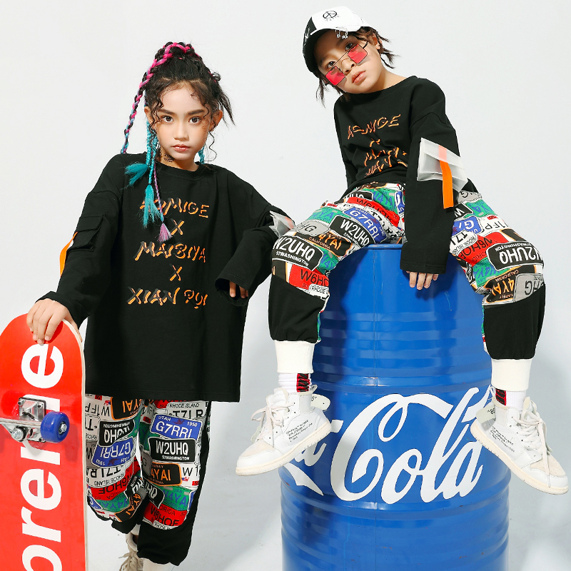 2020 Jazz Dance Costumes Hip Hop Kids Long Sleeve Top Hiphop Pants Girls Performance Clothes Street Dance Stage Outfits DQS3994