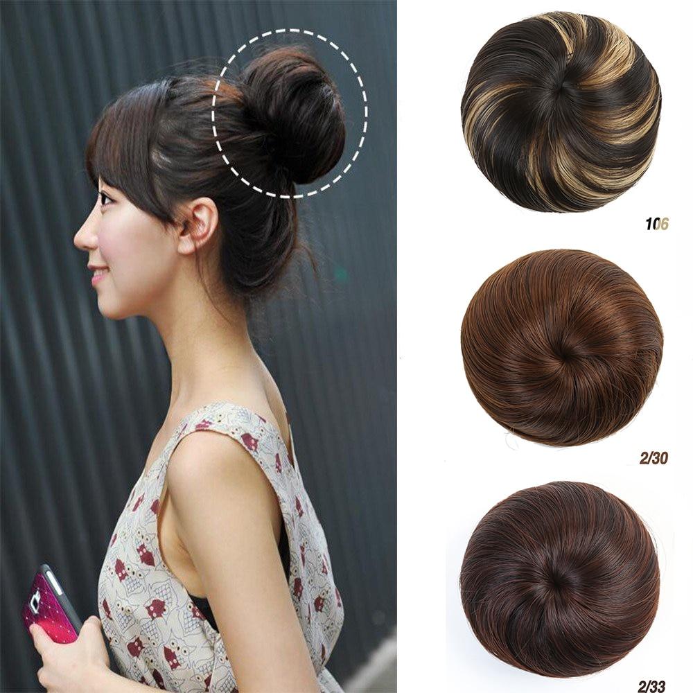 MUMUPI Clip Bun Hand-woven Scrunchie Chignon Clip In Hair Extensions Hair Bun Extensions Headwear