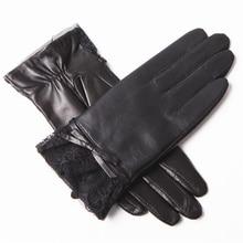 Fashion Women Autumn And Winter Leather Gloves Plus Velvet Warm Lace Edge Sheepskin Gloves EL072-5