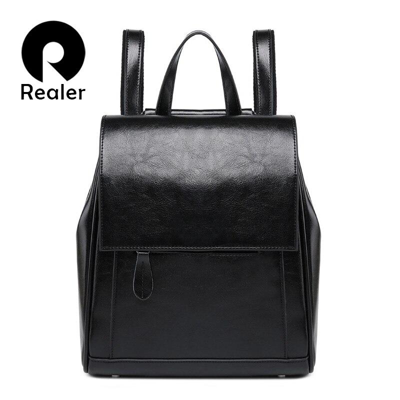 REALER Women Backpack For Teenage Girls High Quality Leather Backpack Vintage School Bag  Large Capacity Shoulder Bag 2019