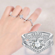3pcs Crown Zircon Ring Jewelry Opening Wedding