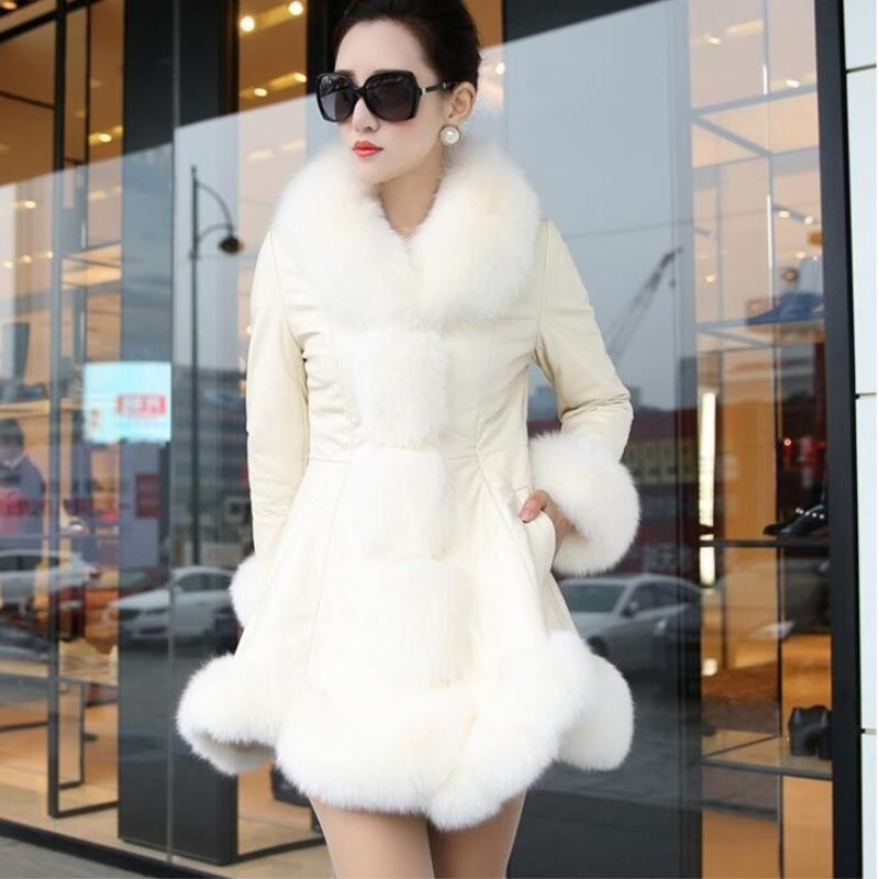Winter Female Sheepskin Coats High Quality Faux Fur Pure Color Fox Collars Snap Fastener Furs Big Yards Slim