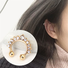 Crown Crystal U-shaped Clip Earrings Non Pierced Ear Bone Invisible Women Brincos Bijoux Fashion Jewelry WD671