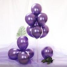 30/50 pçs metálico balões decoração da festa de aniversário do casamento balões látex bolas de ar aniversários dec metal balões fontes de festa