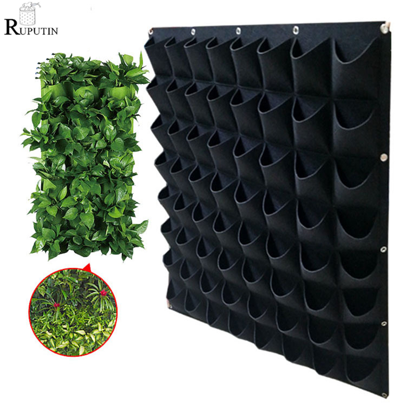 4/9/36/64 Pockets Green Grow Bags Planter Vertical Garden Vegetable Living Garden Bag Seedling Wall Hanging Planter Growing Bags