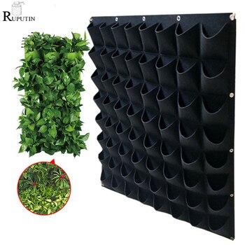 4/9/36/64 bolsillos verde bolsas de cultivo jardín vertical macetero vegetal sala de estar jardín bolsa de plántulas colgante en la pared bolsas crecimiento plantadoras