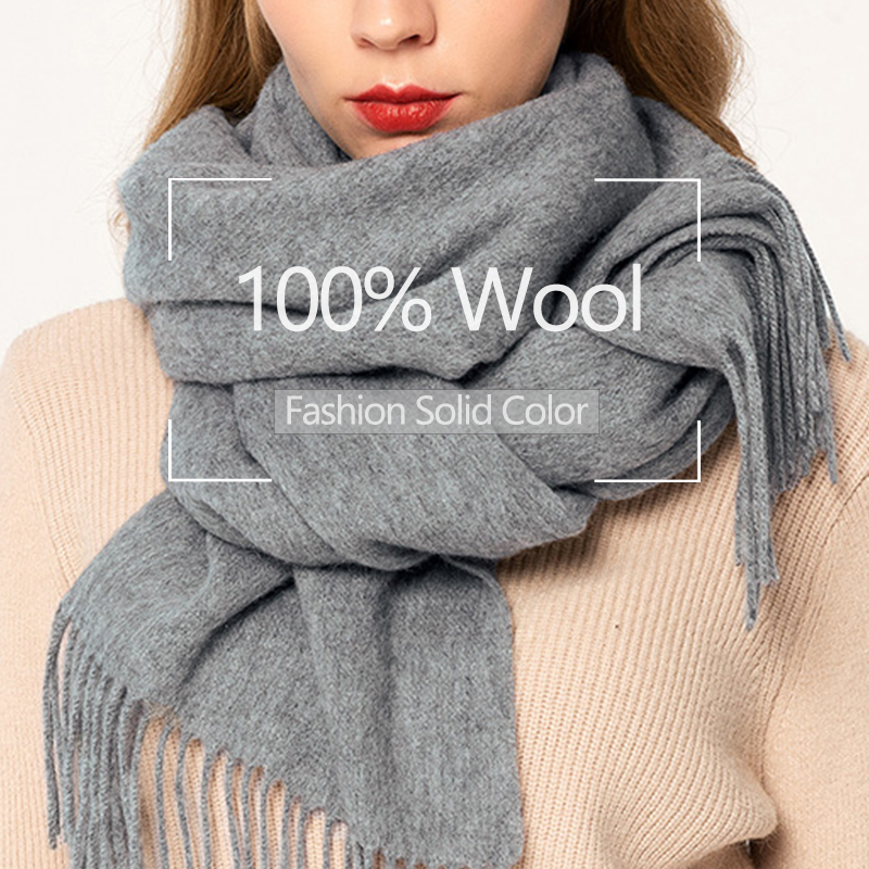 Solid Grey 100% Pure Wool Scarf Women Winter Luxury Brand Wool Shawls and Wraps for Ladies Pashmina  Warm Cashmere Scarves