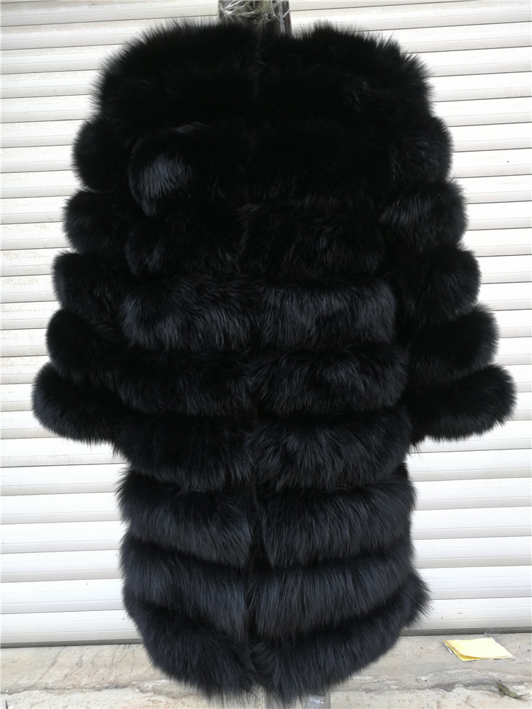 100% Natural Real Fox Fur Coat Women Winter Genuine Vest Waistcoat Thick Warm Long Jacket With Sleeve Outwear Overcoat plus size 63