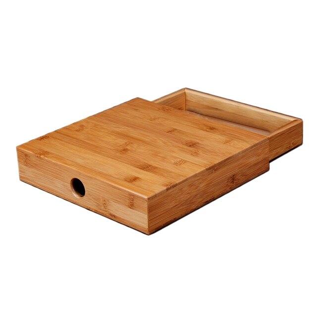 Natural Bamboo Tea Box Wood Tea Tray Kung Fu Set Teaware Accessories Tea Packaging Tea Box Drawer Type Single Layer Tea Storage