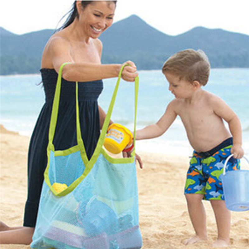 TTLIFE Portable Mesh Children Beach Storage Bags Dredging Tools Toy Quick Storage Bag Handbag Travel Organizer Container Case