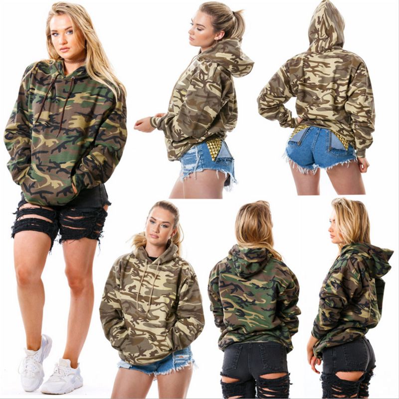 Women Camouflage Printed Hooded Hoodies Sweatshirts Long Sleeve Tracksuit 2020 Autumn Winter Thick Wam ArmyGreen Pullovers Coats
