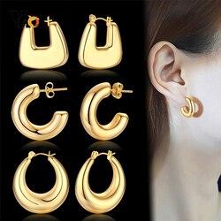Vnox Chic Geometric Shape Women Big Hoop Earrings Hollow Metal Stainless Steel Round Ear Jewelry Anti Allergy Party Accessory