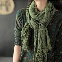 Nini wonderland 2020 outono inverno algodão linho grande cachecol feminino cor sólida vintage xale feminino casual scarfves quatro estações