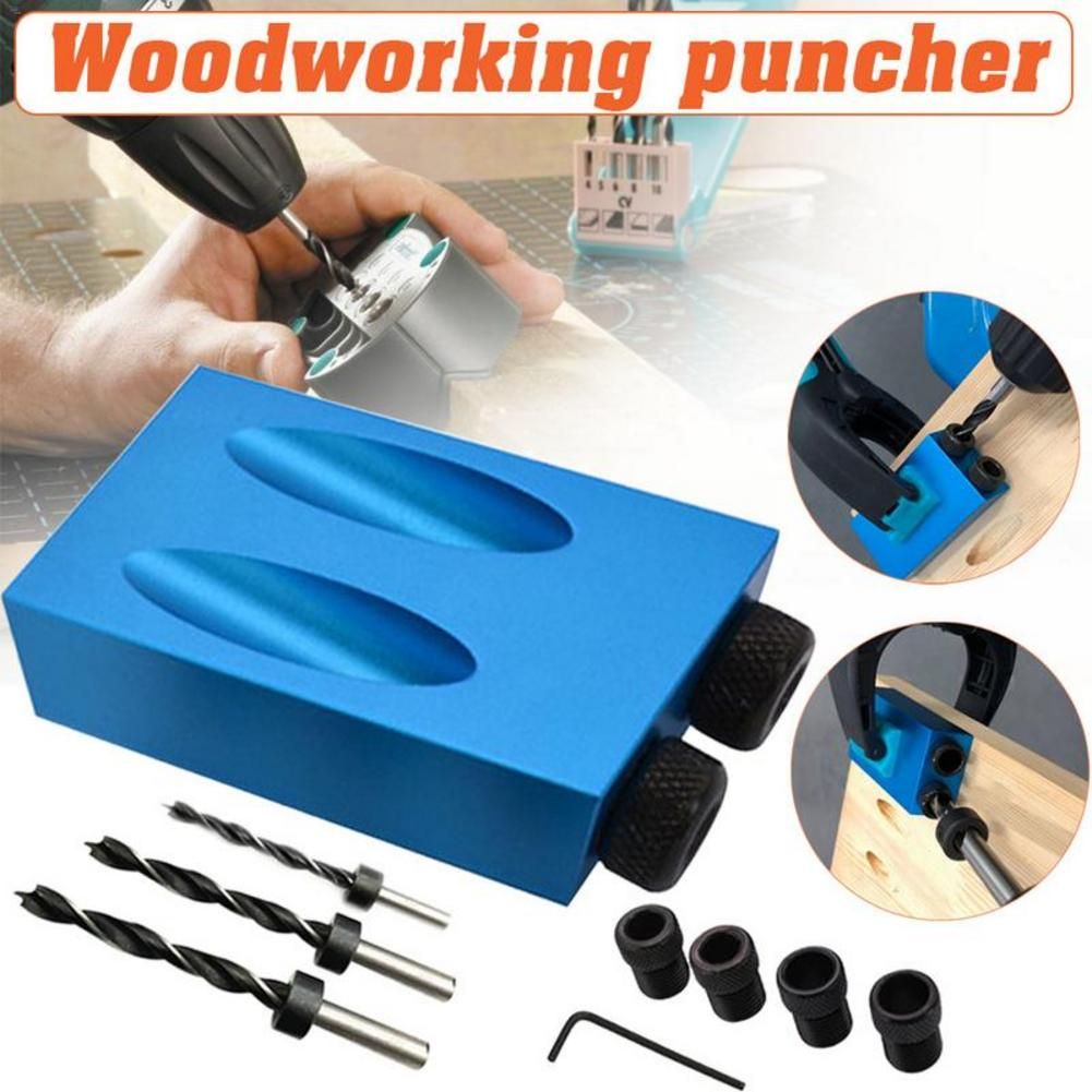 14pcs 15 Angle Woodworking Guide Positioner Kit 6/8/10MM Oblique Hole Locator Positioner Drilling Bits Jig Clamp Woodworking Kit