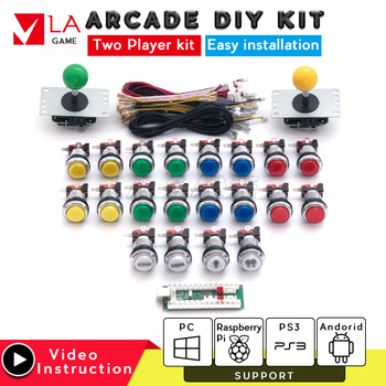 diy kit 2 player controle arcade usb encoder to PC Rasberry PI sanwa joystick led arcade button arcade cabinet mame game console