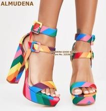 ALMUDENA Rainbow Strap Chunky Heel Sandals Multi-color Patchwork Platform Shoes Double Square Buckle Strap Banquet Shoes Pumps