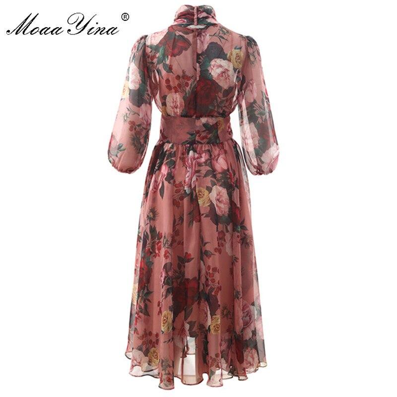 Image 2 - MoaaYina Fashion Designer Runway dress Spring Summer Women Pink  Dress Bow collar Rose Floral Print Elegant Chiffon DressesDresses   -