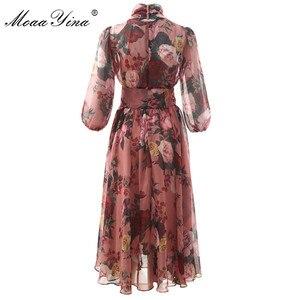 Image 2 - MoaaYina, модное дизайнерское подиумное платье, весна лето, женское розовое платье с бантом, воротник, роза, цветочный принт, элегантные шифоновые платья
