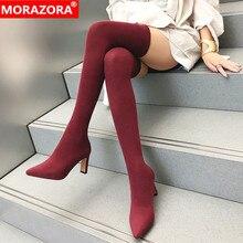 MORAZORA 2020 ajustado sexy muslo alta botas de las mujeres del dedo del pie puntiagudo primavera otoño zapatos de tacón alto zapatos para fiesta de graduación elástica damas calcetines botas y botines botas