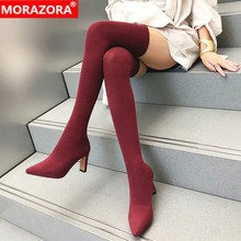 MORAZORA 2020 hot slim thigh high boots women pointed toe spring autumn high heels party prom shoes ladies Elastic socks boots