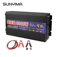 SUNYIMA 3000W Pure Sine Wave Inverter DC12V/24V To AC110V220V 50Hz Car Power Inverter Conversion Booster Double Digital Display