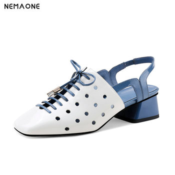 2020 New Genuine Leather Slingbacks Women Shoes Elegant Square Toe Fashion Cross-tied Women Shoes Ladies Summer Party Shoes