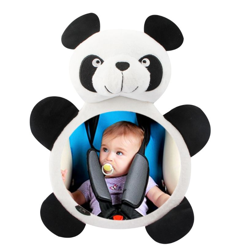 Baby Rearview Mirrors Car Interior Accessories Infants Kids Plush Cartoon Toy Safety Seat Rear Mirror Wide View Y4QA
