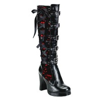 Halloween Women's Cosplay High Boots Winter Long Tube Leather Knight Boot Punk Gothic Classic Black High Heel Shoes Knee High