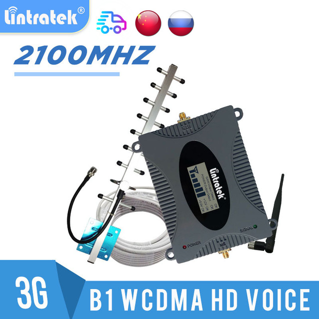 Cellular Amplifier 3G GSM UMTS 2100 Repeater Mobile Signal 2100MHZ Communication Booster 3g Antenna 10m Kit LCD Lintratek #8