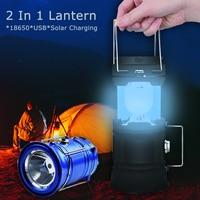 Solar Power Bank Oplaadbare Lamp Torch Lantaarn Camping Licht Outdoor Verlichting 18650 Camping Licht Oplaadbare Zaklampen Camping