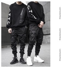 Fall 2020 hip hop casual ribbon men's side pocket harlan pants design jogging stylish street w
