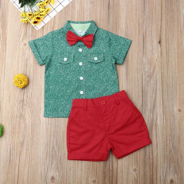 Niños bebé fresco niño verano trajes boda Bowtie Caballero Tops camisa pantalones cortos ropa de moda para niños
