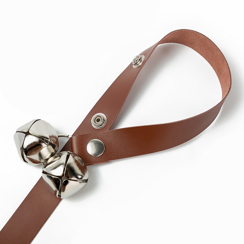 Pure Leather Pet Doorbell Lanyard Training Dog Nursing Alert Dog Doorbell Guide Dog Bell Lanyard