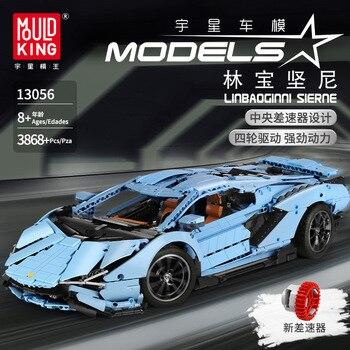 En existencia, MOULD KING 13056 3868 Uds., coche de carreras con mando a distancia, modelo técnico Lamborghinis, bloques de construcción, juguetes para niños, regalos de navidad