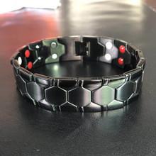 Męskie zdrowie energia 4 w 1 bransoletka magnetyczna tytanowa bransoletka bioenergetyczna dla mężczyzn zapalenie stawów skręcona zdrowa bransoletka magnetyczna tanie tanio JIAMEN Hologram bransoletki Mężczyźni Tytanu CN (pochodzenie) Moda Klasyczny Metal Link łańcucha GEOMETRIC Napięcie ustawianie