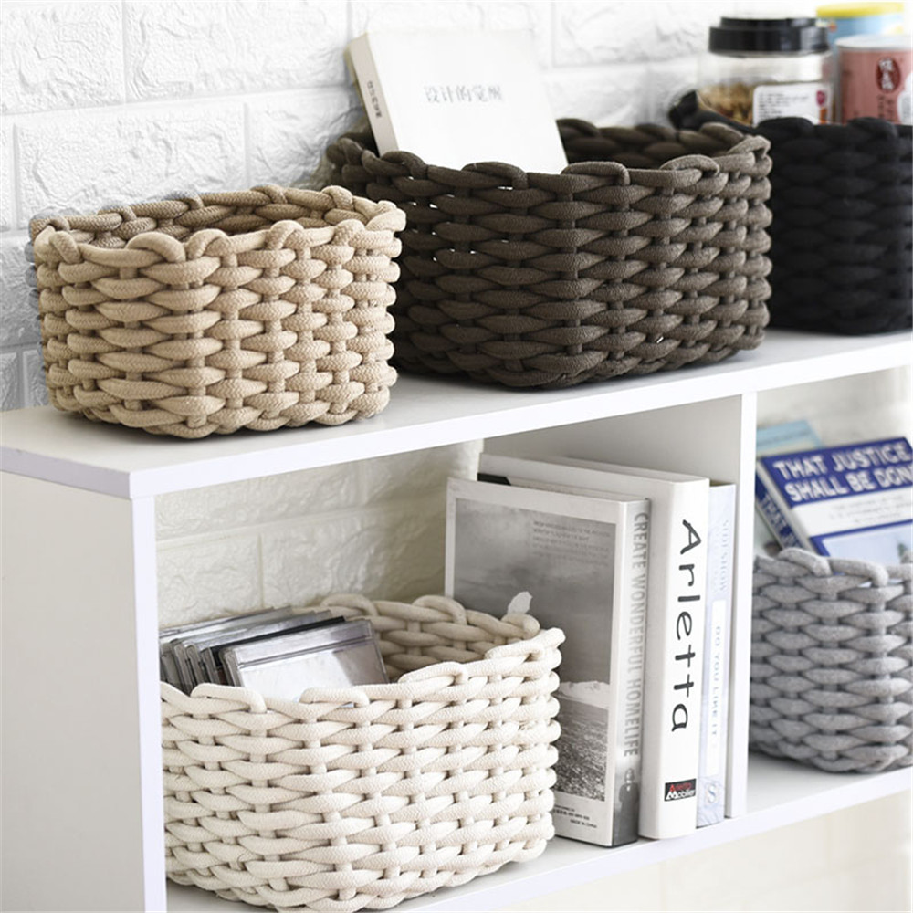 Nordic Cotton Line Woven Storage Basket Coarse Rope Sundries Finishing Box Simple Chic Cosmetic Toys Organizer Frame