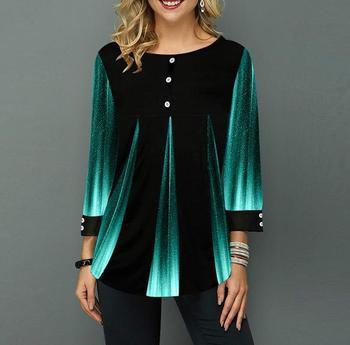 Shirt Blouse Women Spring Summer Blouse 3/4 Sleeve Casual Printing Button Female fashion shirt Tops Plus Size StreetShirt 1