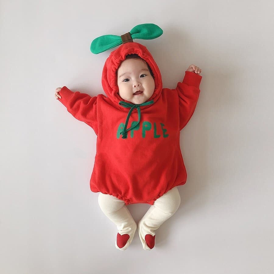 Fall Winter Baby Girl Bodysuit Toddler Boy Bebe Rompers Hooded Red Apple Banana Orange Costume