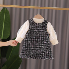 Toddler Girls Clothing Sets Fashion Korean Mesh Long Sleeves Shirt Plaid Strap Dress 2pcs Kids Clothes 1 2 3 4 Years Girl Suit(China)