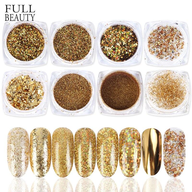 Paillette-Gel-Mirror Glitter-Powder-Set Nail-Art-Decorations Sequins Shinning Gold Aluminum