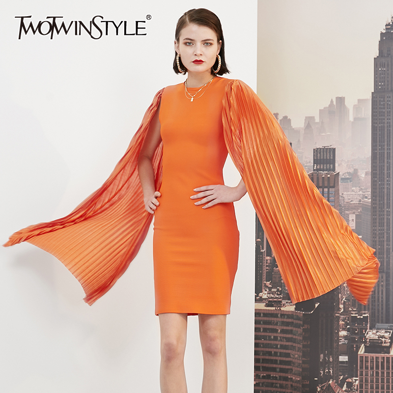 TWOTWINSTYLE Sexy Slim Women's Dresses O Neck Long Sleeve High Waist Ruched Split Elegant Dress For Female 2020 Fashion Clothing